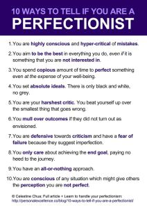Perfectionism traits