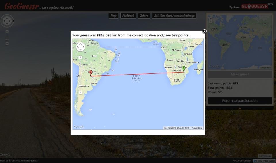 GeoGuesser points