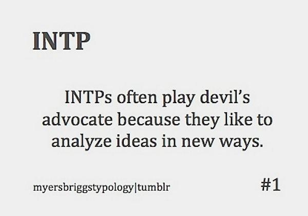 INTP -devil's advocate