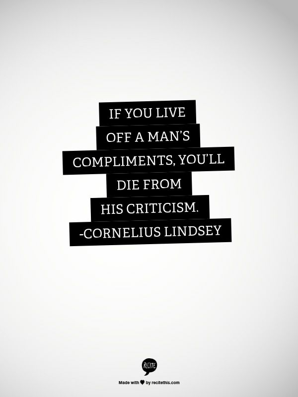 cornelius lindsey - criticism:compliments