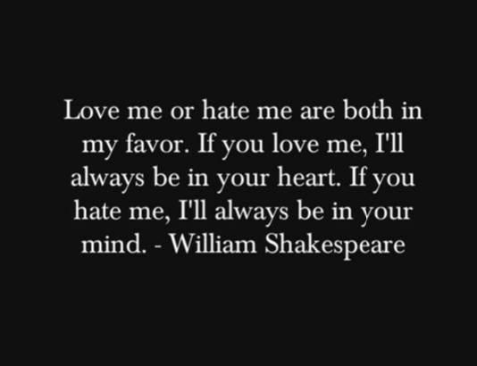 shakespeare love:hate
