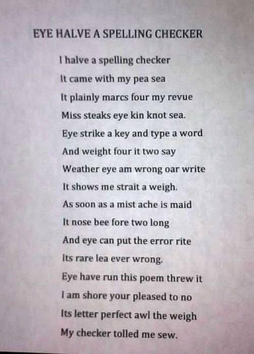 Eye Halve a Spell Checker