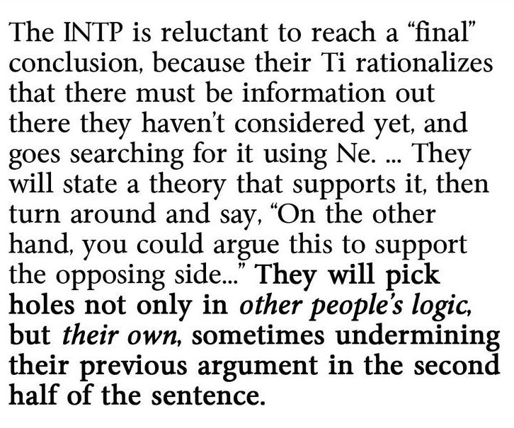 INTP in conclusion