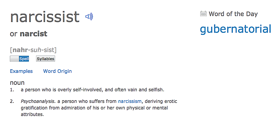 Narcissist dictionary definition