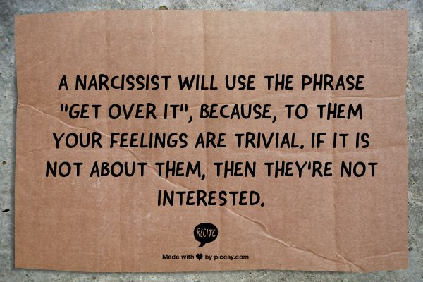 get over it narcissist style