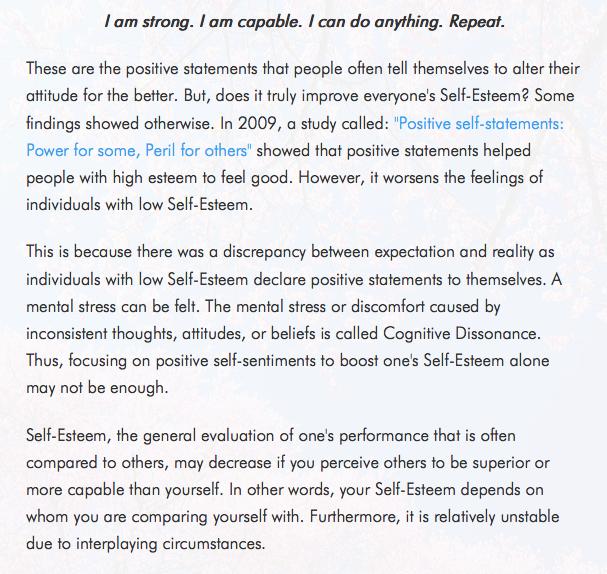 problems with self-esteem