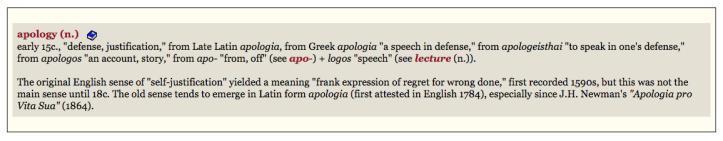 Apology etymology