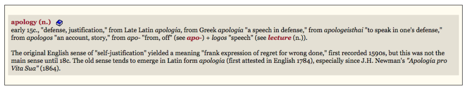 Apology etymology