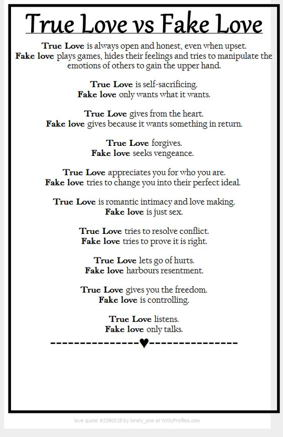 true love versus fake love
