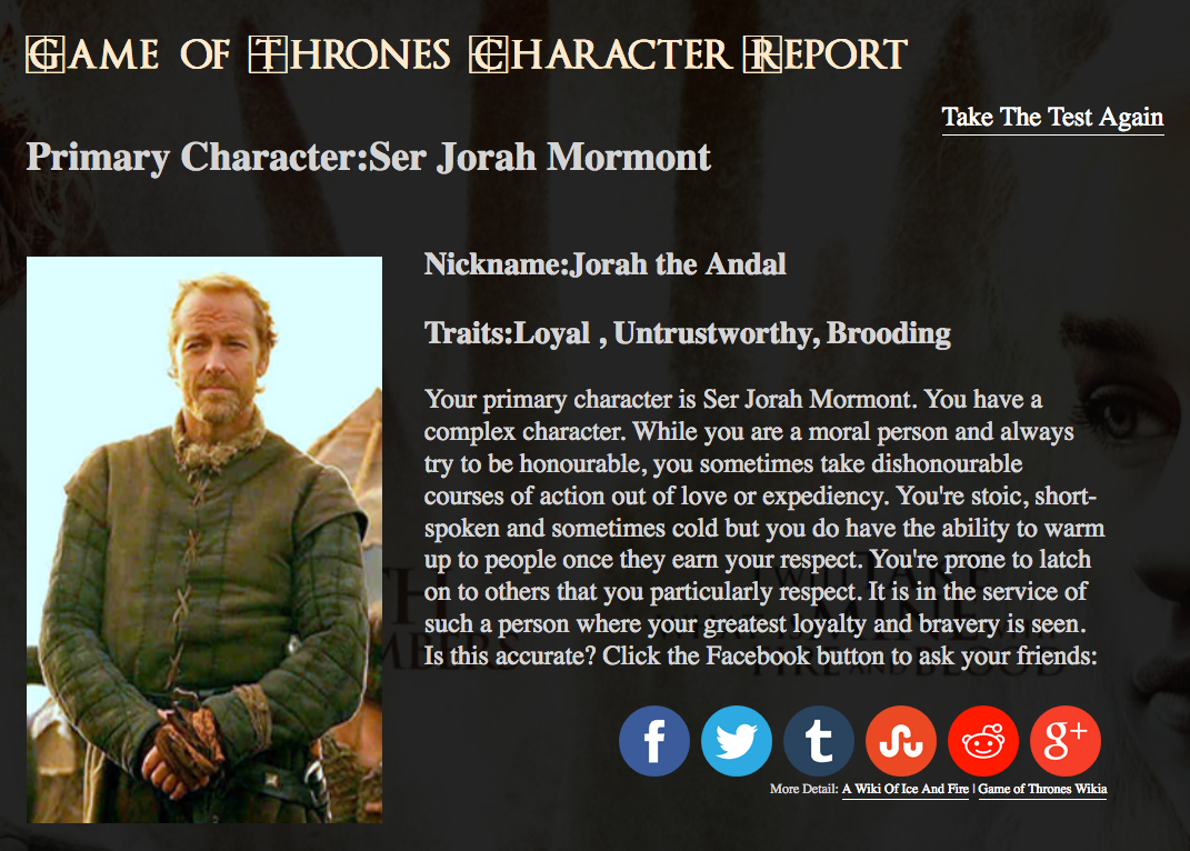 game of thrones personality
