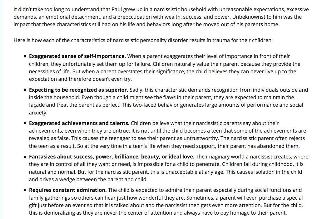 Characteristics of narcissistic daughters