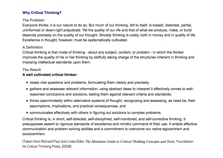 Science and Critical Thinking   Richard Dawkins Foundation Learning to Think Things Through  A Guide to Critical Thinking Across the  Curriculum   th