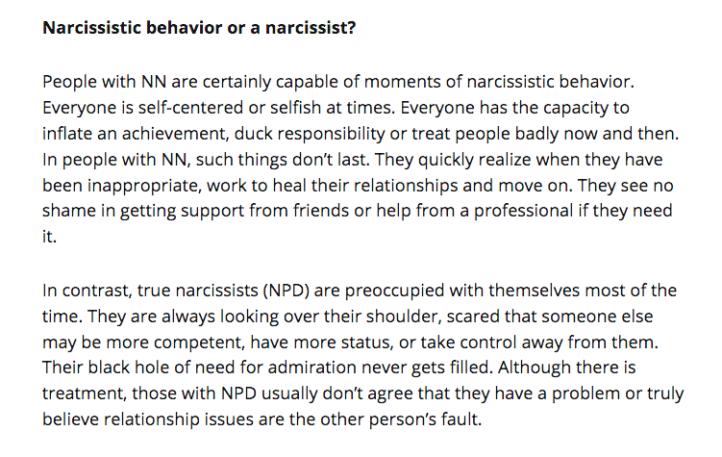 Narcissistic Behaviour versus Being a Narcissist/Having